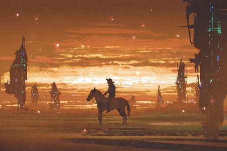 silhouette of man riding horse against futuristic city in desert, digital art style, illustration painting