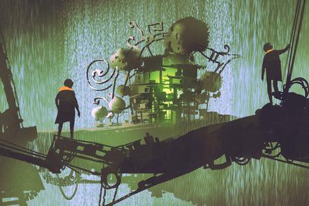 L'uomo due sta sul ponte che esamina il villaggio di fantasia con la cascata, lo stile di arte digitale, pittura dell'illustrazione Archivio Fotografico - 82730498