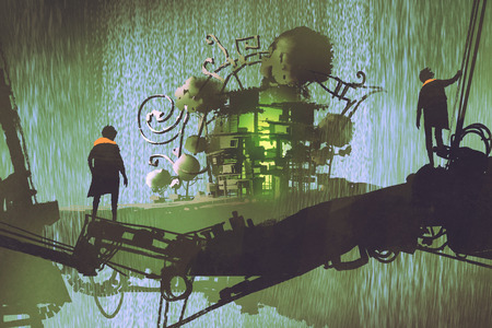 twee man staat op brug kijken naar fantasiedorp met waterval, digitale kunststijl, illustratie schilderij