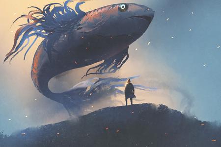 Riesenfische, die in den Himmel über Mann im schwarzen Mantel, digitale Kunstart, Illustrationsmalerei schwimmen
