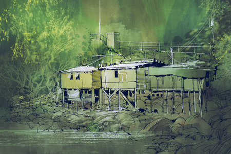 scenery of old houses among the nature in countryside with watercolor painting style, illustration