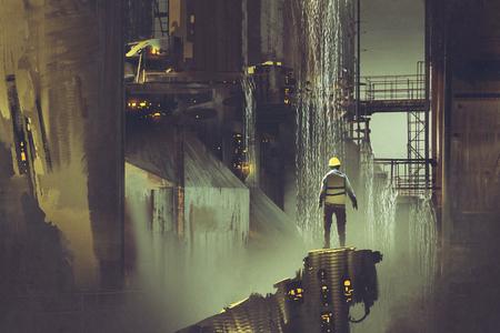 Escena del ingeniero de pie sobre una plataforma mirando presa futurista, estilo de arte digital, pintura de ilustración Foto de archivo - 83093504
