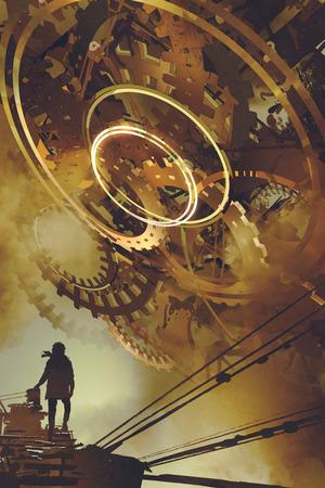 Scenario steampunk dell'uomo in piedi contro molti grandi ingranaggi d'oro, stile arte digitale, pittura illustrazione Archivio Fotografico - 83157469