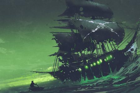 Nachtszene des Geisterpiratenschiffs im Meer mit geheimnisvollem grünem Licht, Fliegender Holländer, digitaler Kunststil, Illustrationsmalerei