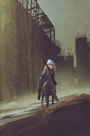 man met een kanon rijpaard wandelen in woestijn stad met industriële gebouwen, digitale kunststijl, illustratie schilderij
