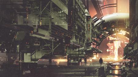 Sci-Fi-Landschaft der Cyberpunk-Stadt mit futuristischen Gebäuden, digitaler Kunststil, Illustrationsmalerei