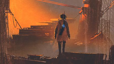 日没、デジタル アートのスタイル、絵画の図で放棄された都市の未来銃立っている男