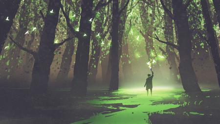 fantasiescène van de alleen mens met toorts die zich in sprookje bos, digitale kunststijl, illustratie het schilderen bevinden