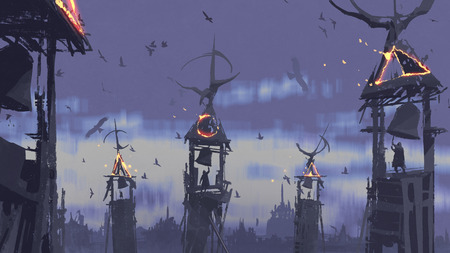 dark fantasy concept of people ringing bell on tower against birds flying in evening sky, digital art style, illustration painting