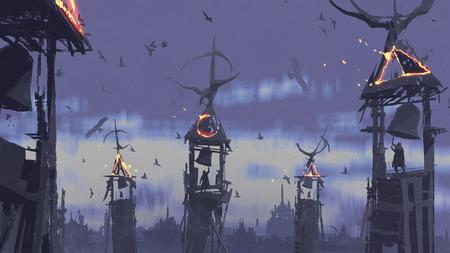 dunkles Fantasiekonzept der Leute, die Glocke auf Turm gegen die Vögel fliegen im Abendhimmel, digitaler Kunstart, Illustrationsmalerei klingeln