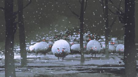 nachtscène van kudde van demonschapen in de winterlandschap, digitale kunststijl, illustratie het schilderen Stockfoto