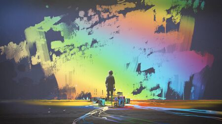 man paints colorful brush stroke in the air with magic brush, digital art style, illustration painting Stock Photo