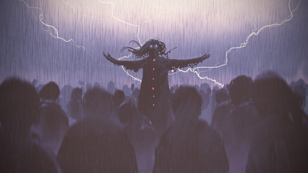 black wizard raising arms standing out from the crowd in the rain, digital art style, illustration painting Stock fotó
