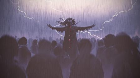 Schwarzer Zauberer, der die Arme erhebt, die heraus von der Menge im Regen, digitaler Kunststil, Illustrationsmalerei stehen Standard-Bild - 83933489
