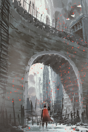 knight in red cape with sword standing under the old stone arch bridge, digital art style, illustration painting Stok Fotoğraf - 83933490