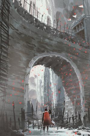 Ridder in rode kaap met zwaard staande onder de oude stenen boogbrug, digitale kunststijl, illustratie schilderij