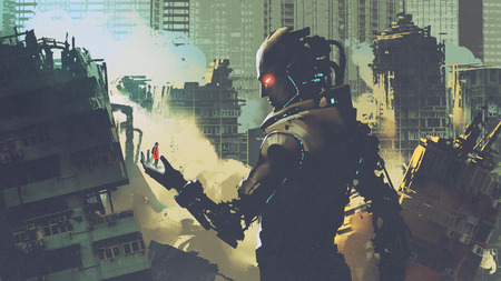 giant futuristic robot looking at woman on its hand in apocalyptic city, digital art style, illustration painting