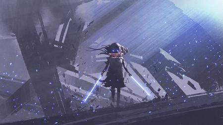 Petit chevalier futuriste avec des épées jumelles contre le fond des bâtiments, style d'art numérique, peinture d'illustration Banque d'images - 83933492