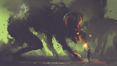 悪魔の角、デジタル アートのスタイル、絵画の図と煙の怪物を直面しているトーチで少年を示すダーク ・ ファンタジーのコンセプト