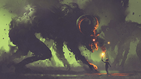 dark fantasy concept showing the boy with a torch facing smoke monsters with demon's horns, digital art style, illustration painting Archivio Fotografico