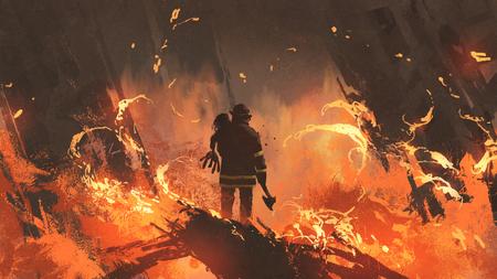 brandweerman bedrijf meisje in brandende gebouwen, digitale kunststijl, illustratie schilderij