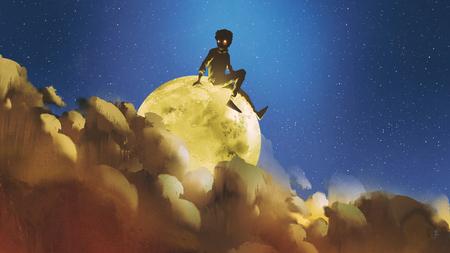 jonge jongen zittend op de gloeiende maan achter de wolken in de nachtelijke hemel, digitale kunststijl, illustratie schilderij Stockfoto