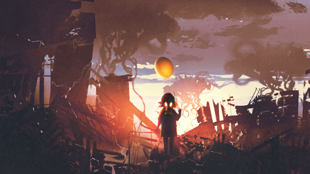 little girl with gas mask holding balloon standing in apocalypse city, digital art style, illustration painting