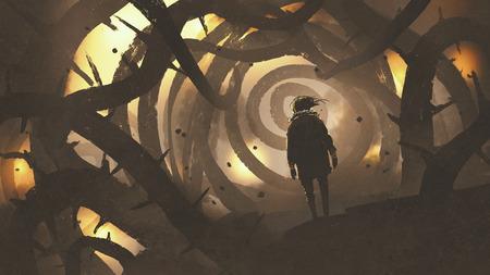첨단 트리, 디지털 아트 스타일, 그림 페인팅과 미스터리 숲에서 산책하는 사람