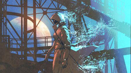 mysterieuze vrouw in futuristische mantel met kap lopen met blauwe lichte deeltjes, digitale kunststijl, illustratie schilderij