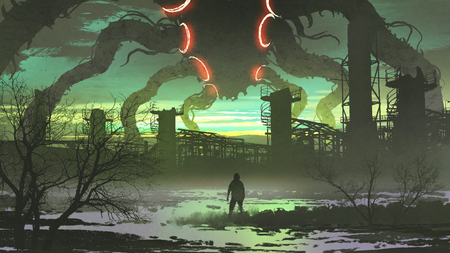 man looking at giant monster standing above abandoned factory, digital art style, illustration painting Foto de archivo