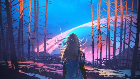 vrouw alleen in bos met fictieve planeten achtergrond, digitale kunststijl, illustratie schilderij