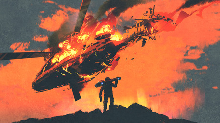 man holding rocket launcher standing against burning falling helicopter, digital art style, illustration painting