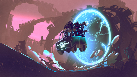 sci-fi concept of the gun truck drives through futuristic tunnel, digital art style, illustration painting