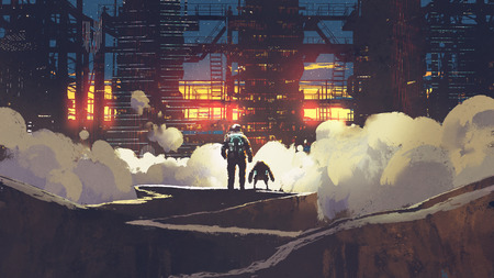 astronaut and little robot looking at futuristic city at sunset, digital art style, illustration painting Archivio Fotografico
