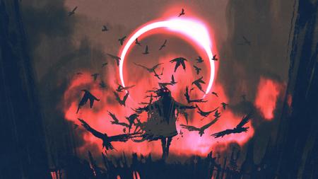 tovenaar van kraaien die een spreuk gieten in het geheimzinnige gebied met zonneverduistering, digitale kunststijl, illustratieverfschilderij