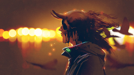 portrait of mysterious character with melting skull mask against bokeh background, digital art style, illustration painting Stock Photo