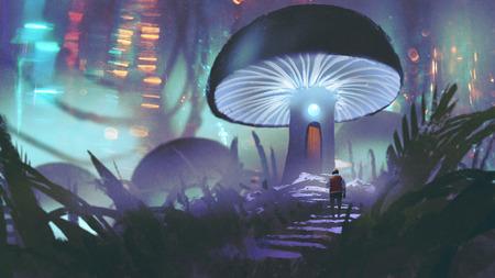 man lopen in de richting van het gloeiende paddestoel huis bos in bos, digitale kunststijl, illustratie schilderij Stockfoto