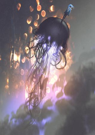 Uomo e grandi meduse che galleggiano nell'aria con la luce d'ardore, stile di arte digitale, pittura dell'illustrazione Archivio Fotografico - 85122526