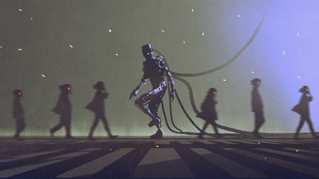 uniek concept van robot lopen naar andere manier tussen de mensen, digitale kunststijl, illustratie schilderen