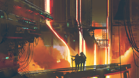 sci-fi scene of couple standing in the futuristic foundry, digital art style, illustration painting Stock Photo
