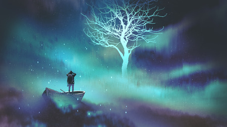 man on a boat in the outer space with clouds looking at glowing tree with stars, digital art style, illustration painting Archivio Fotografico