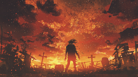 zombie walking in the burnt cemetery with burning sky, digital art style, illustration painting Stock Photo