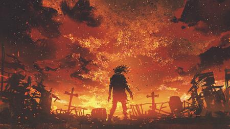 zombie wandelen in de verbrande begraafplaats met brandende lucht, digitale kunststijl, illustratie schilderij
