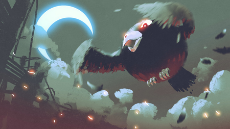 giant fat bird flying in the night sky with crescent moon, digital art style, illustration painting