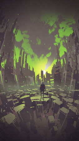 man standing in abstract city looking sunset with green sky, digital art style, illustration painting