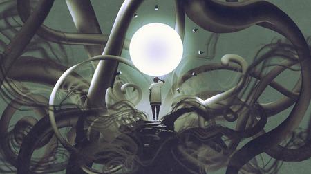 暗い場所に立って光る円、デジタルアートスタイル、イラスト画を見る男 写真素材 - 85830012