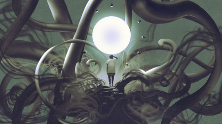 man standing in dark place and looking at glowing circle, digital art style, illustration painting