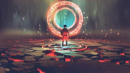 男は赤い光をデジタル アートのスタイル、絵画イラストとマジック サークルの前に立っています。 写真素材