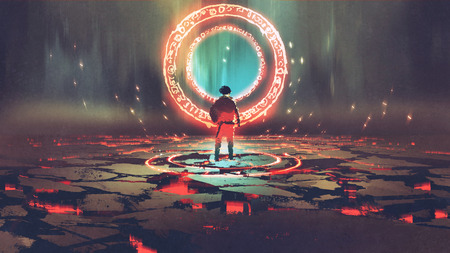 man standing in front of magic circle with red  light, digital art style, illustration painting