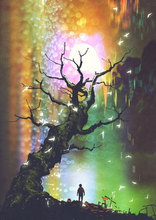 Paysage fantastique du garçon debout sous l'arbre nu avec ballon de lumière ci-dessus, style art numérique, illustration peinture Banque d'images - 86089845
